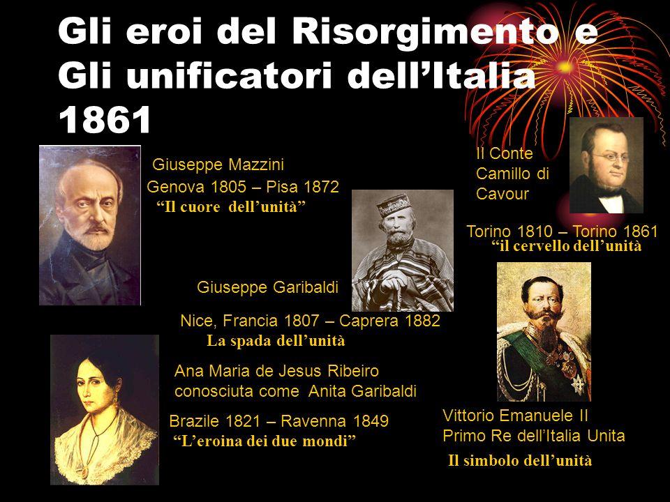 Gli eroi del Risorgimento e Gli unificatori dellItalia 1861 Giuseppe Mazzini Giuseppe Garibaldi Ana Maria de Jesus Ribeiro conosciuta come Anita Garib