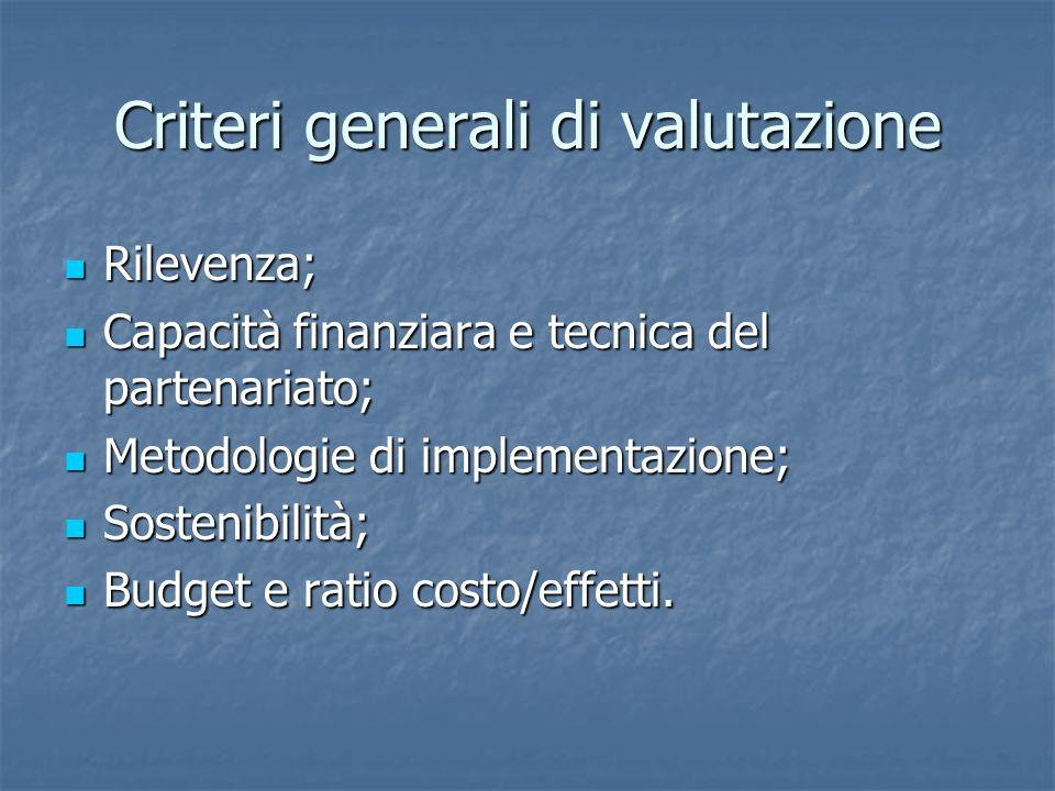 Criteri generali di valutazione Rilevenza; Rilevenza; Capacità finanziara e tecnica del partenariato; Capacità finanziara e tecnica del partenariato; Metodologie di implementazione; Metodologie di implementazione; Sostenibilità; Sostenibilità; Budget e ratio costo/effetti.