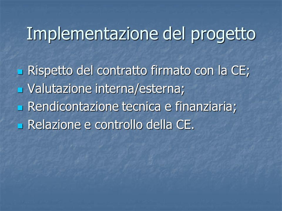 Implementazione del progetto Rispetto del contratto firmato con la CE; Rispetto del contratto firmato con la CE; Valutazione interna/esterna; Valutazione interna/esterna; Rendicontazione tecnica e finanziaria; Rendicontazione tecnica e finanziaria; Relazione e controllo della CE.