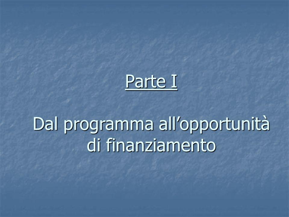 Parte I Dal programma allopportunità di finanziamento