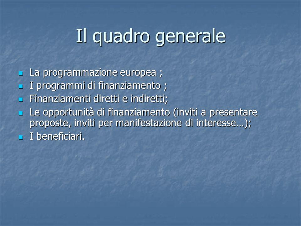 Il quadro generale La programmazione europea ; La programmazione europea ; I programmi di finanziamento ; I programmi di finanziamento ; Finanziamenti diretti e indiretti; Finanziamenti diretti e indiretti; Le opportunità di finanziamento (inviti a presentare proposte, inviti per manifestazione di interesse…); Le opportunità di finanziamento (inviti a presentare proposte, inviti per manifestazione di interesse…); I beneficiari.