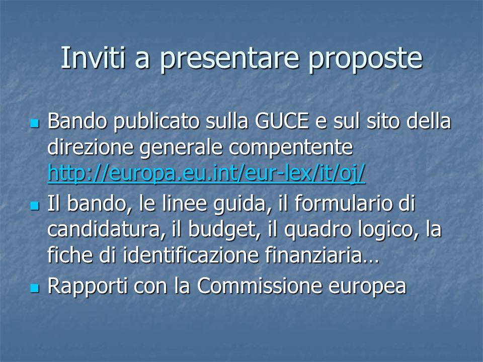 Inviti a presentare proposte Bando publicato sulla GUCE e sul sito della direzione generale compentente http://europa.eu.int/eur-lex/it/oj/ Bando publicato sulla GUCE e sul sito della direzione generale compentente http://europa.eu.int/eur-lex/it/oj/ http://europa.eu.int/eur-lex/it/oj/ Il bando, le linee guida, il formulario di candidatura, il budget, il quadro logico, la fiche di identificazione finanziaria… Il bando, le linee guida, il formulario di candidatura, il budget, il quadro logico, la fiche di identificazione finanziaria… Rapporti con la Commissione europea Rapporti con la Commissione europea