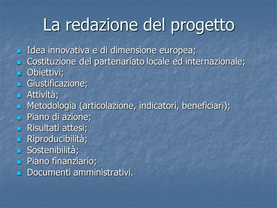 La redazione del progetto Idea innovativa e di dimensione europea; Idea innovativa e di dimensione europea; Costituzione del partenariato locale ed internazionale; Costituzione del partenariato locale ed internazionale; Obiettivi; Obiettivi; Giustificazione; Giustificazione; Attività; Attività; Metodologia (articolazione, indicatori, beneficiari); Metodologia (articolazione, indicatori, beneficiari); Piano di azione; Piano di azione; Risultati attesi; Risultati attesi; Riproducibilità; Riproducibilità; Sostenibilità; Sostenibilità; Piano finanziario; Piano finanziario; Documenti amministrativi.