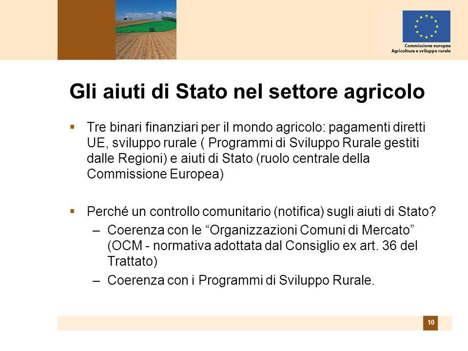 10 Gli aiuti di Stato nel settore agricolo Tre binari finanziari per il mondo agricolo: pagamenti diretti UE, sviluppo rurale ( Programmi di Sviluppo Rurale gestiti dalle Regioni) e aiuti di Stato (ruolo centrale della Commissione Europea) Perché un controllo comunitario (notifica) sugli aiuti di Stato.