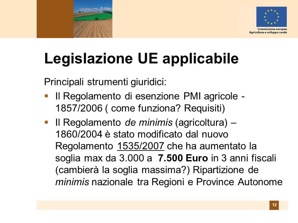 12 Legislazione UE applicabile Principali strumenti giuridici: Il Regolamento di esenzione PMI agricole - 1857/2006 ( come funziona.