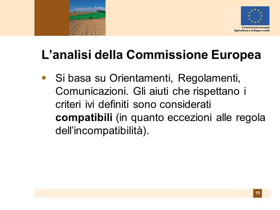 15 Lanalisi della Commissione Europea Si basa su Orientamenti, Regolamenti, Comunicazioni.