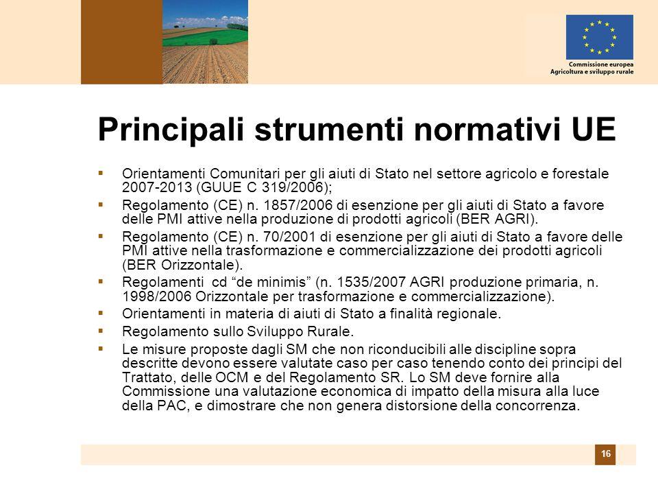 16 Principali strumenti normativi UE Orientamenti Comunitari per gli aiuti di Stato nel settore agricolo e forestale 2007-2013 (GUUE C 319/2006); Regolamento (CE) n.