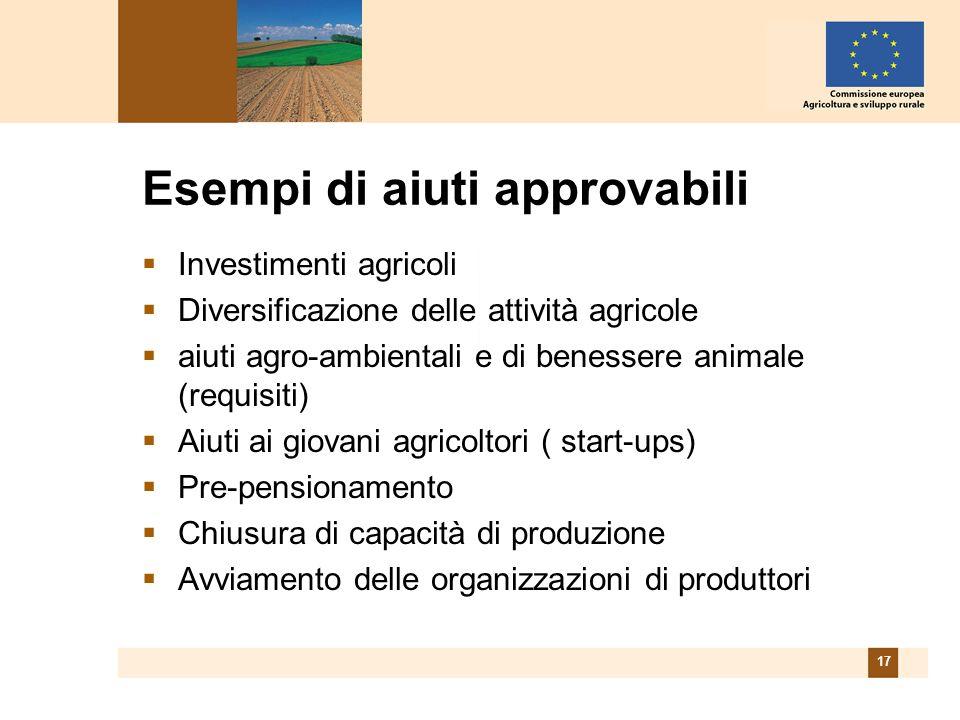 17 Esempi di aiuti approvabili Investimenti agricoli Diversificazione delle attività agricole aiuti agro-ambientali e di benessere animale (requisiti) Aiuti ai giovani agricoltori ( start-ups) Pre-pensionamento Chiusura di capacità di produzione Avviamento delle organizzazioni di produttori