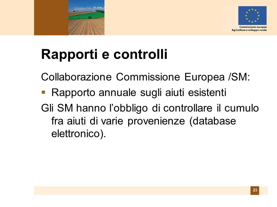 23 Rapporti e controlli Collaborazione Commissione Europea /SM: Rapporto annuale sugli aiuti esistenti Gli SM hanno lobbligo di controllare il cumulo fra aiuti di varie provenienze (database elettronico).