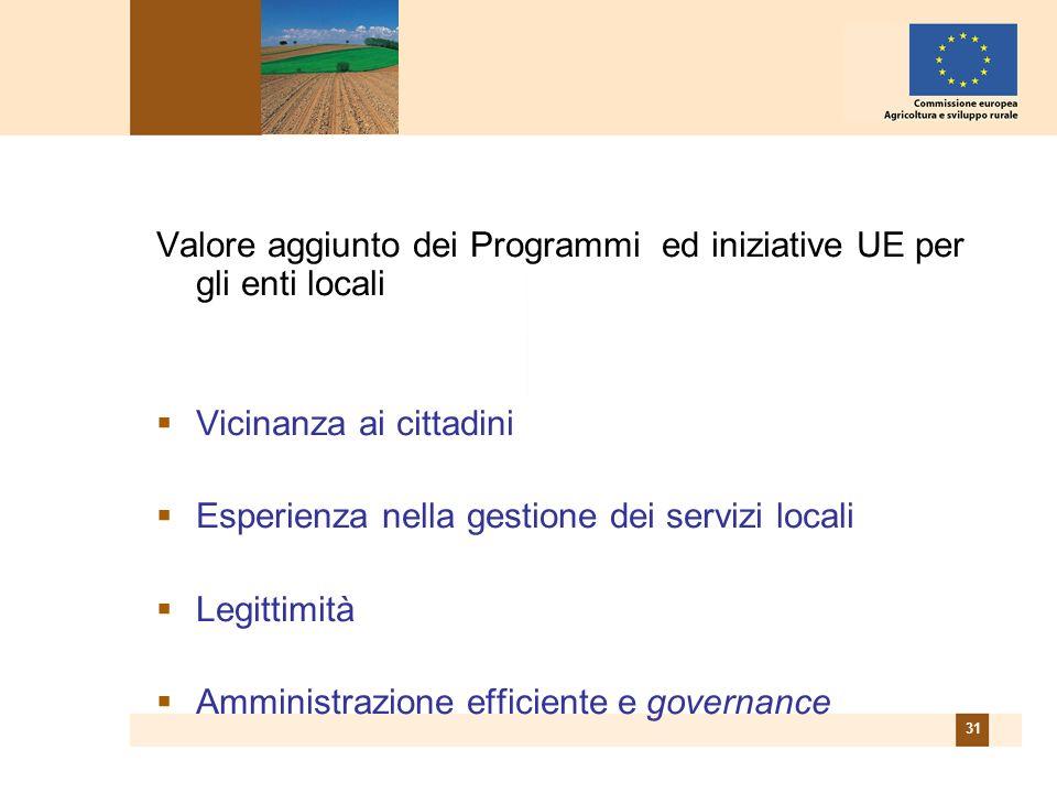 31 Valore aggiunto dei Programmi ed iniziative UE per gli enti locali Vicinanza ai cittadini Esperienza nella gestione dei servizi locali Legittimità Amministrazione efficiente e governance