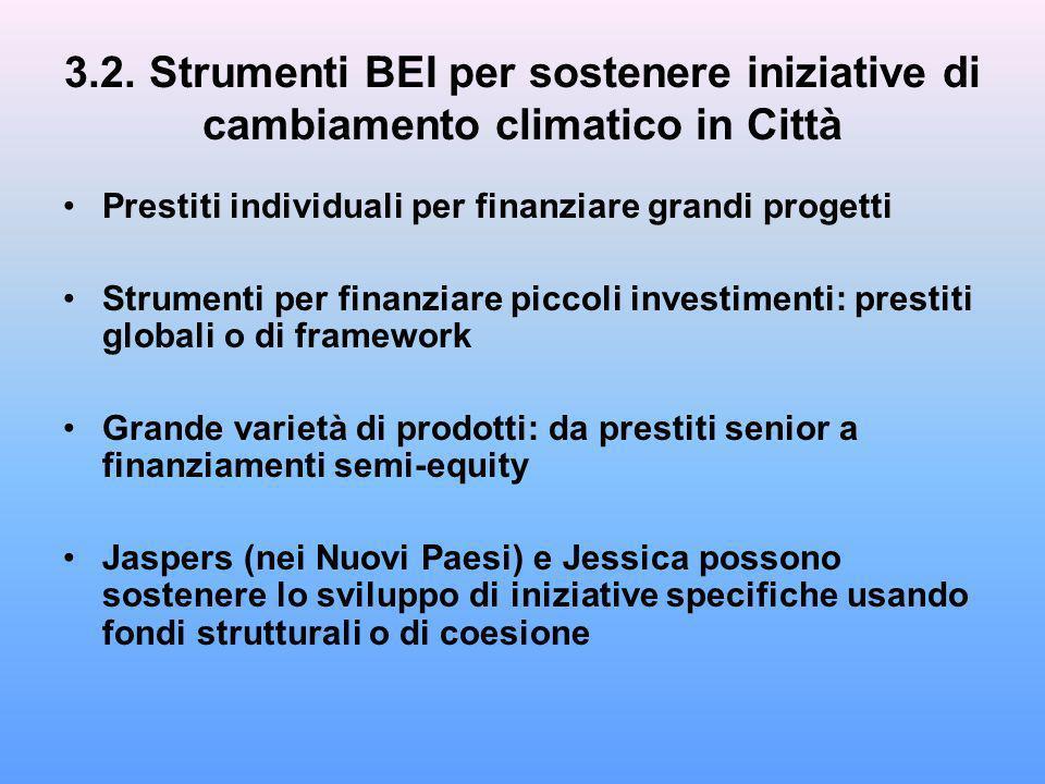 3.2. Strumenti BEI per sostenere iniziative di cambiamento climatico in Città Prestiti individuali per finanziare grandi progetti Strumenti per finanz