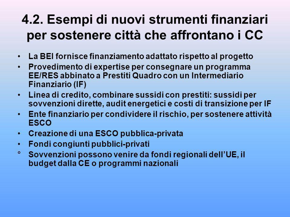 4.2. Esempi di nuovi strumenti finanziari per sostenere città che affrontano i CC La BEI fornisce finanziamento adattato rispetto al progetto Provedim