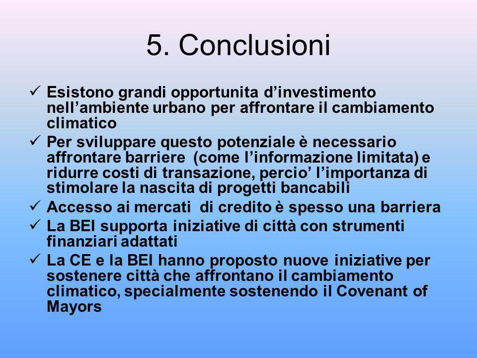 5. Conclusioni Esistono grandi opportunita dinvestimento nellambiente urbano per affrontare il cambiamento climatico Per sviluppare questo potenziale