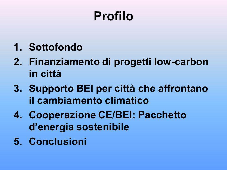 Profilo 1.Sottofondo 2.Finanziamento di progetti low-carbon in città 3.Supporto BEI per città che affrontano il cambiamento climatico 4.Cooperazione CE/BEI: Pacchetto denergia sostenibile 5.Conclusioni