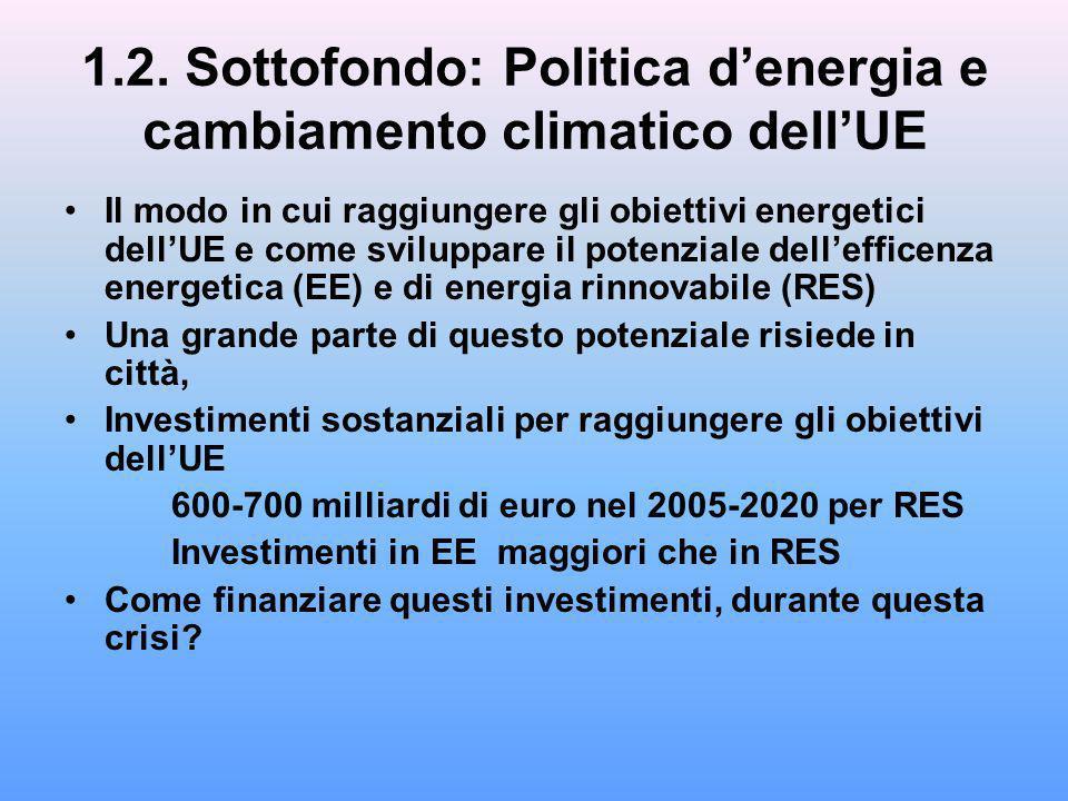 1.2. Sottofondo: Politica denergia e cambiamento climatico dellUE Il modo in cui raggiungere gli obiettivi energetici dellUE e come sviluppare il pote