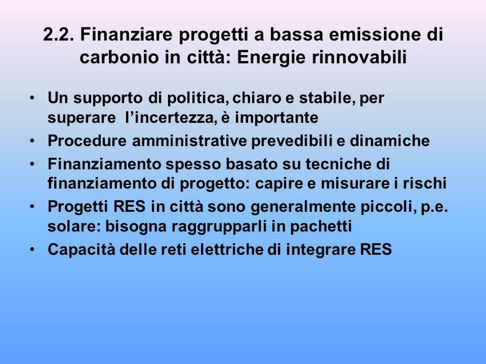 2.2. Finanziare progetti a bassa emissione di carbonio in città: Energie rinnovabili Un supporto di politica, chiaro e stabile, per superare lincertez