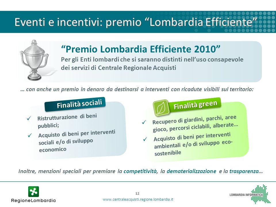 Eventi e incentivi: premio Lombardia Efficiente 12 www.centraleacquisti.regione.lombardia.it Premio Lombardia Efficiente 2010 Per gli Enti lombardi ch