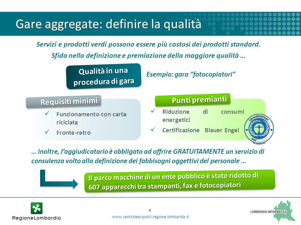 Gare aggregate: definire la qualità Servizi e prodotti verdi possono essere più costosi dei prodotti standard. Sfida nella definizione e premiazione d