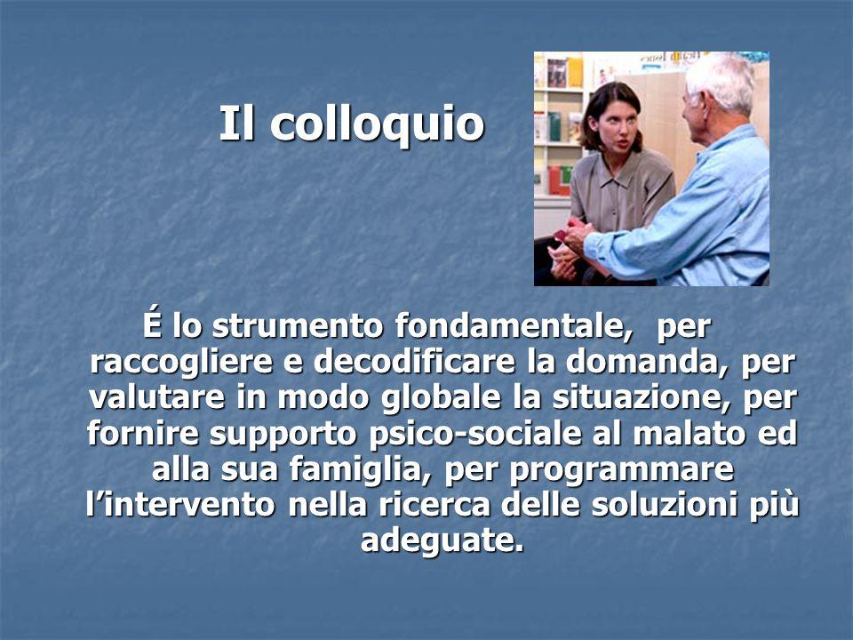 Il colloquio Il colloquio É lo strumento fondamentale, per raccogliere e decodificare la domanda, per valutare in modo globale la situazione, per forn