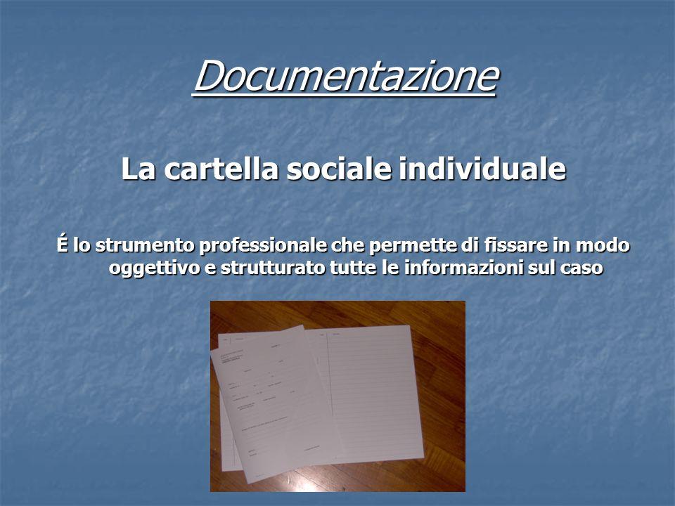 Documentazione La cartella sociale individuale É lo strumento professionale che permette di fissare in modo oggettivo e strutturato tutte le informazi