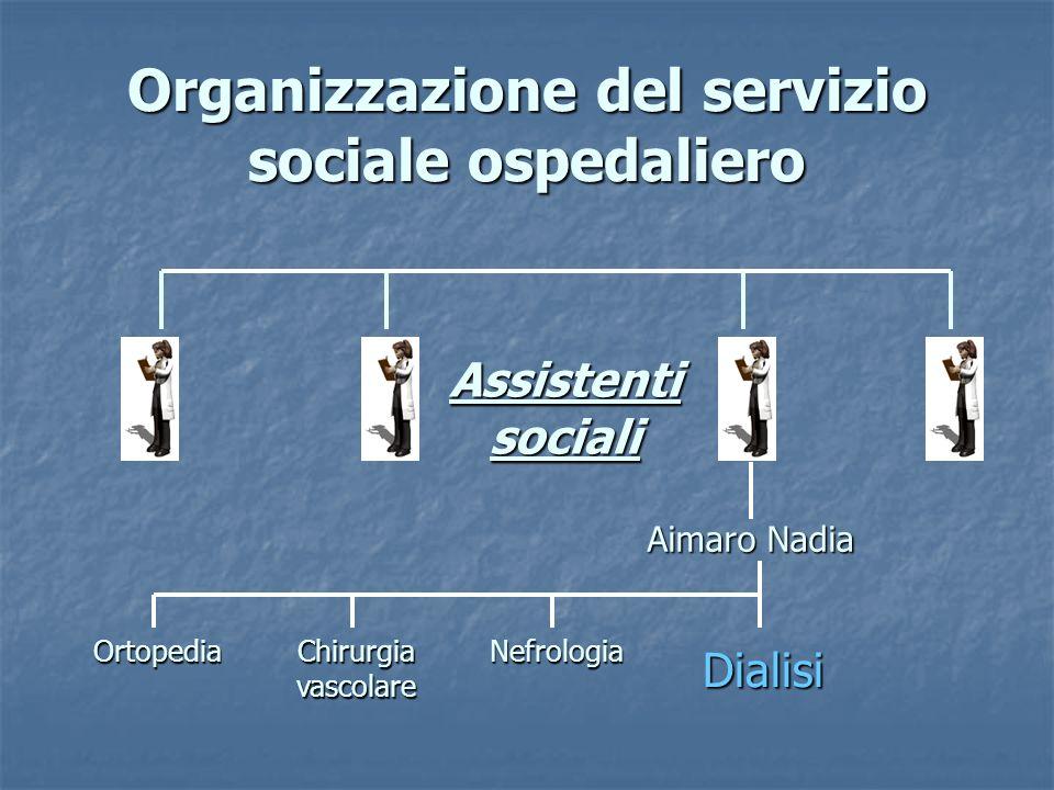 Organizzazione del servizio sociale ospedaliero Assistenti sociali Aimaro Nadia Ortopedia Chirurgia vascolare Nefrologia Dialisi