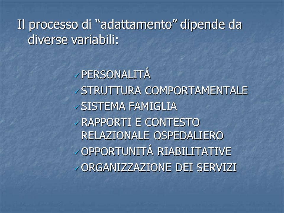 Il processo di adattamento dipende da diverse variabili: PERSONALITÁ STRUTTURA COMPORTAMENTALE SISTEMA FAMIGLIA RAPPORTI E CONTESTO RELAZIONALE OSPEDA