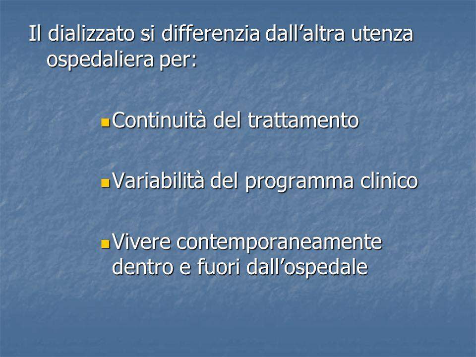 Il dializzato si differenzia dallaltra utenza ospedaliera per: Continuità del trattamento Continuità del trattamento Variabilità del programma clinico