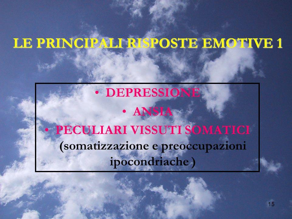 15 LE PRINCIPALI RISPOSTE EMOTIVE 1 DEPRESSIONE ANSIA PECULIARI VISSUTI SOMATICI (somatizzazione e preoccupazioni ipocondriache )