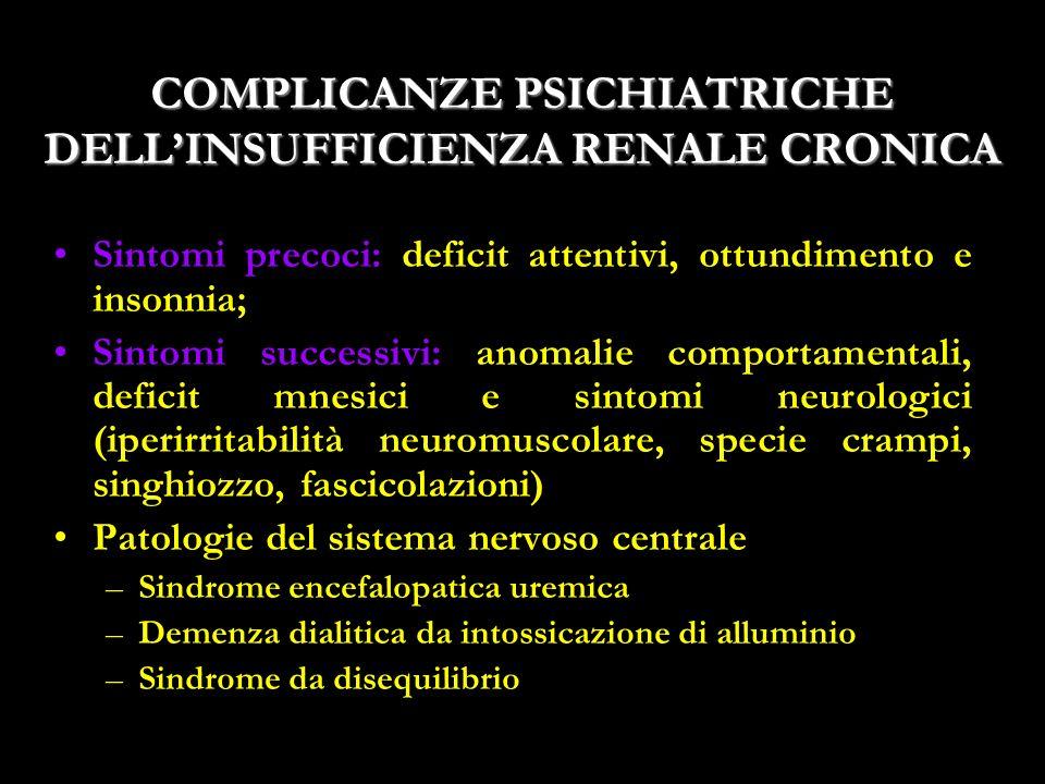 18 COMPLICANZE PSICHIATRICHE DELLINSUFFICIENZA RENALE CRONICA Sintomi precoci: deficit attentivi, ottundimento e insonnia; Sintomi successivi: anomali