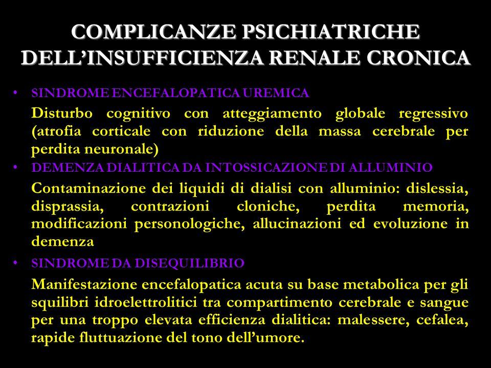 19 COMPLICANZE PSICHIATRICHE DELLINSUFFICIENZA RENALE CRONICA SINDROME ENCEFALOPATICA UREMICA Disturbo cognitivo con atteggiamento globale regressivo