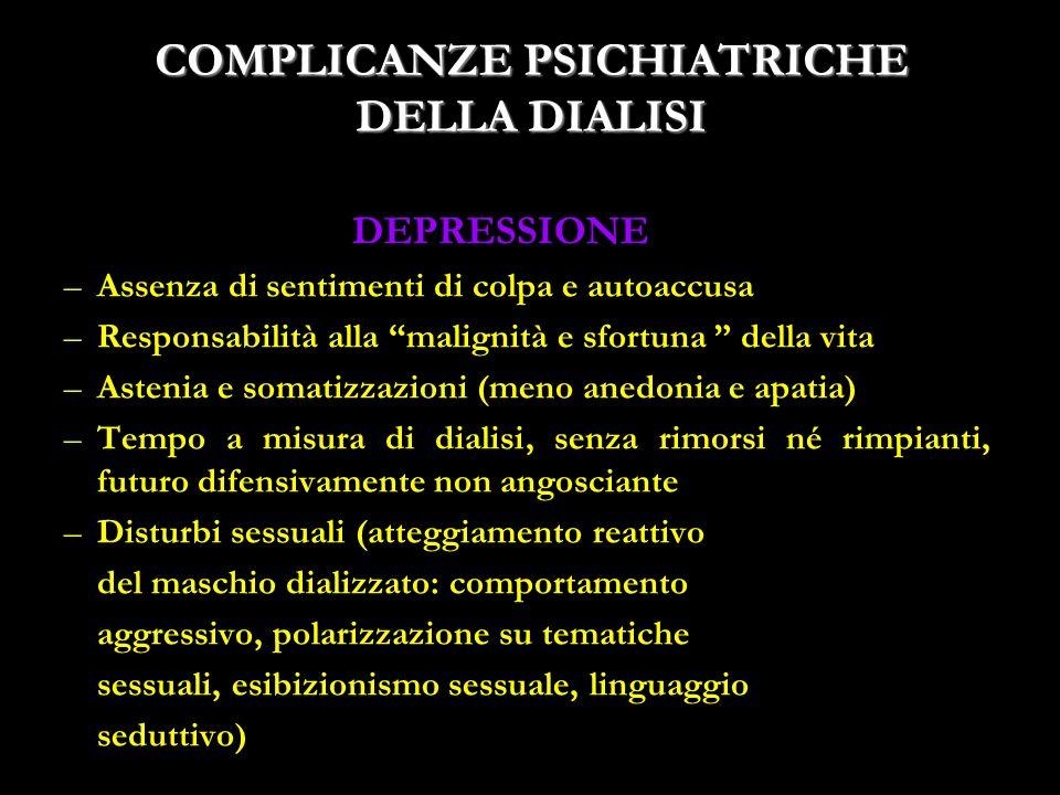 21 COMPLICANZE PSICHIATRICHE DELLA DIALISI DEPRESSIONE –Assenza di sentimenti di colpa e autoaccusa –Responsabilità alla malignità e sfortuna della vi