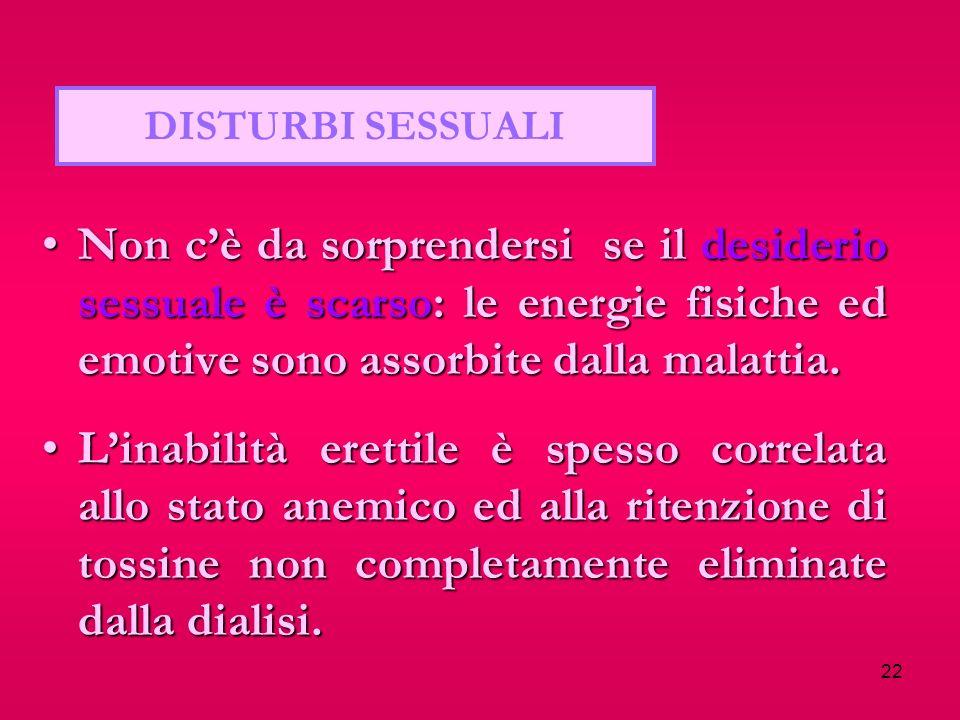 22 DISTURBI SESSUALI Non cè da sorprendersi se il desiderio sessuale è scarso: le energie fisiche ed emotive sono assorbite dalla malattia.Non cè da s