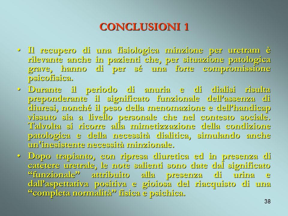38 CONCLUSIONI 1 Il recupero di una fisiologica minzione per uretram è rilevante anche in pazienti che, per situazione patologica grave, hanno di per