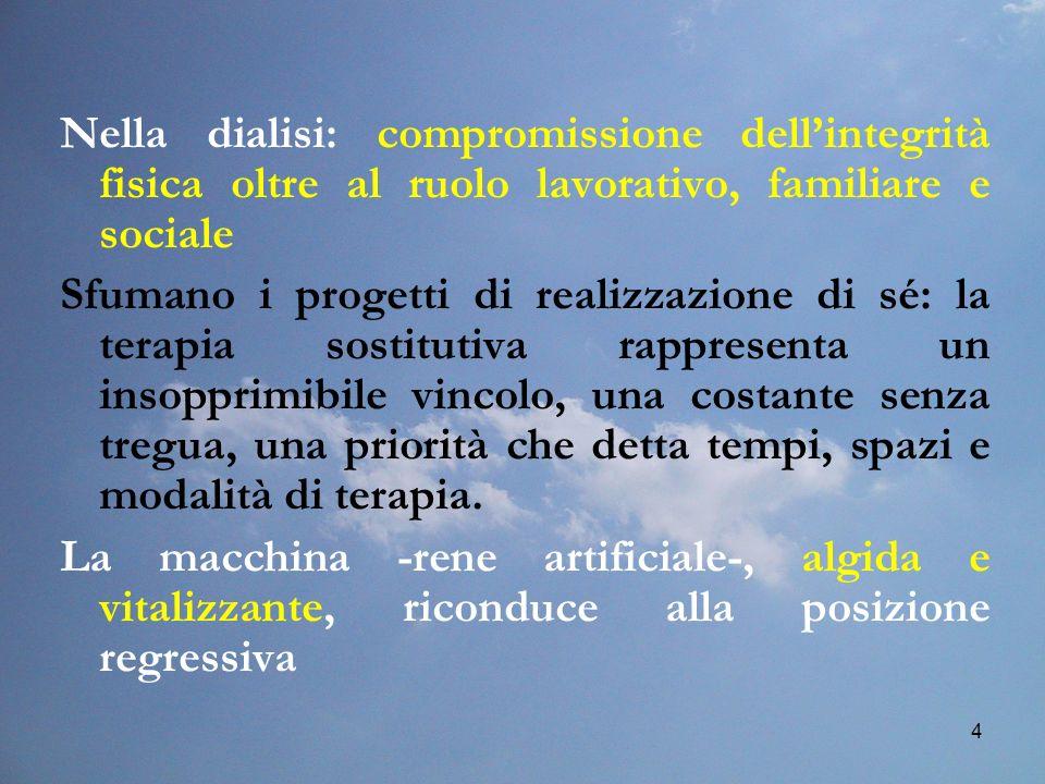 4 Nella dialisi: compromissione dellintegrità fisica oltre al ruolo lavorativo, familiare e sociale Sfumano i progetti di realizzazione di sé: la tera