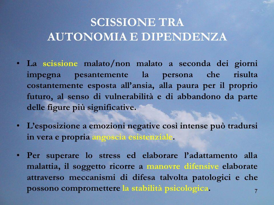 7 SCISSIONE TRA AUTONOMIA E DIPENDENZA La scissione malato/non malato a seconda dei giorni impegna pesantemente la persona che risulta costantemente e