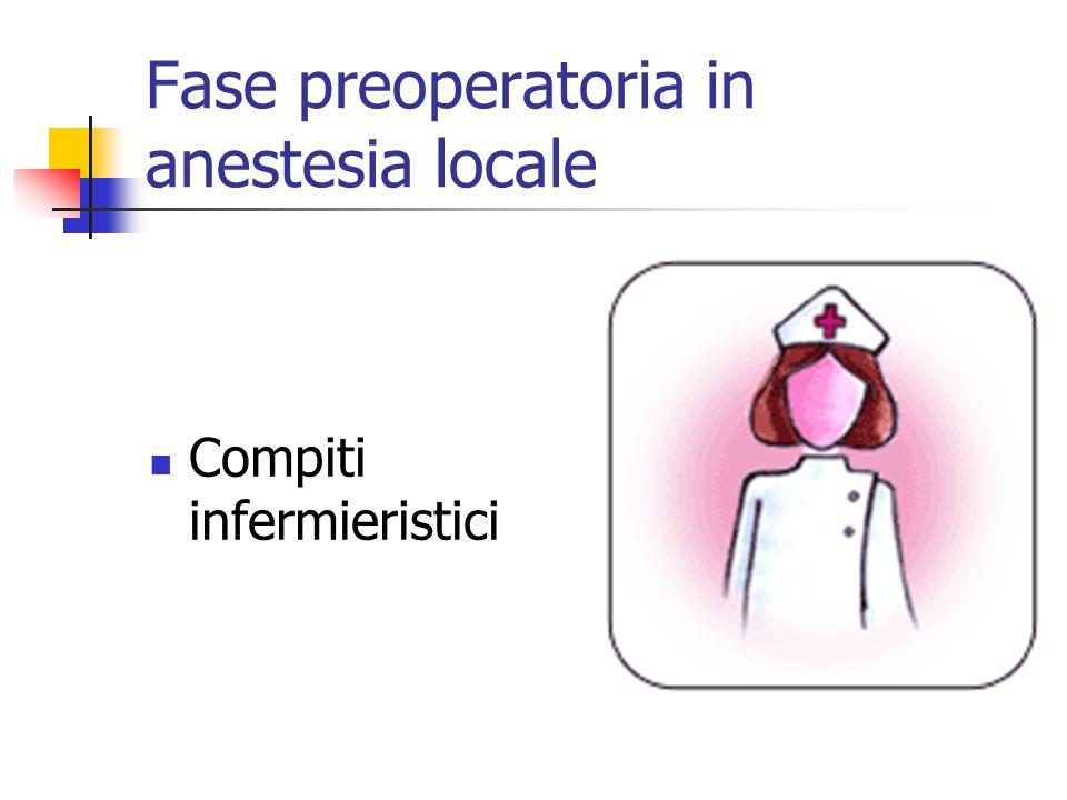 Fase preoperatoria in anestesia locale Compiti infermieristici