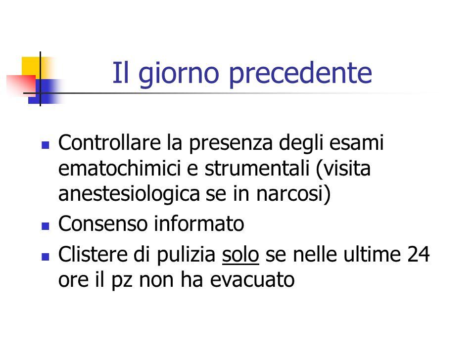 Il giorno precedente Controllare la presenza degli esami ematochimici e strumentali (visita anestesiologica se in narcosi) Consenso informato Clistere