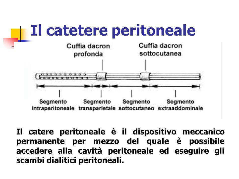 Il catetere peritoneale Il catere peritoneale è il dispositivo meccanico permanente per mezzo del quale è possibile accedere alla cavità peritoneale e