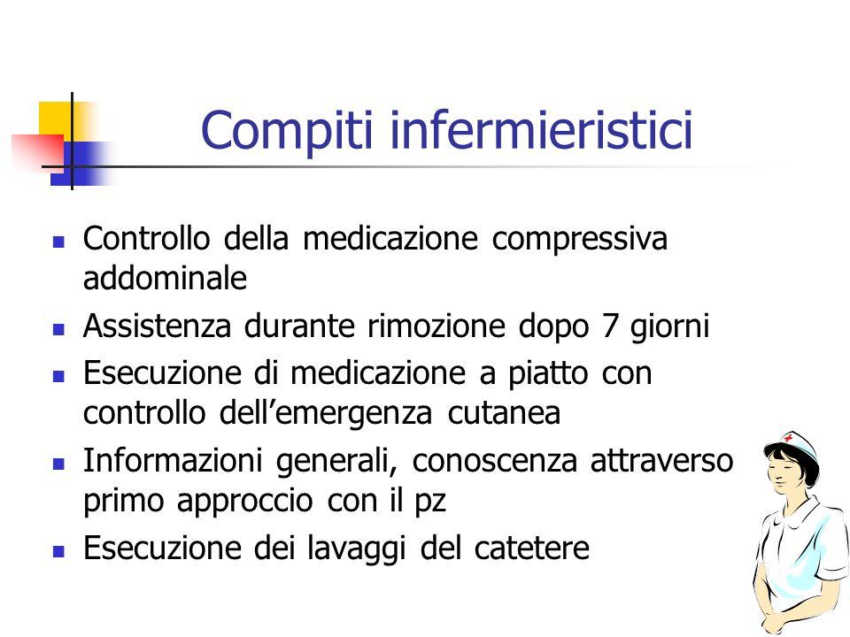 Compiti infermieristici Controllo della medicazione compressiva addominale Assistenza durante rimozione dopo 7 giorni Esecuzione di medicazione a piat