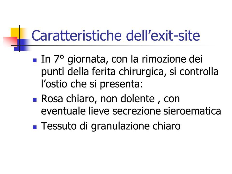 Caratteristiche dellexit-site In 7° giornata, con la rimozione dei punti della ferita chirurgica, si controlla lostio che si presenta: Rosa chiaro, no