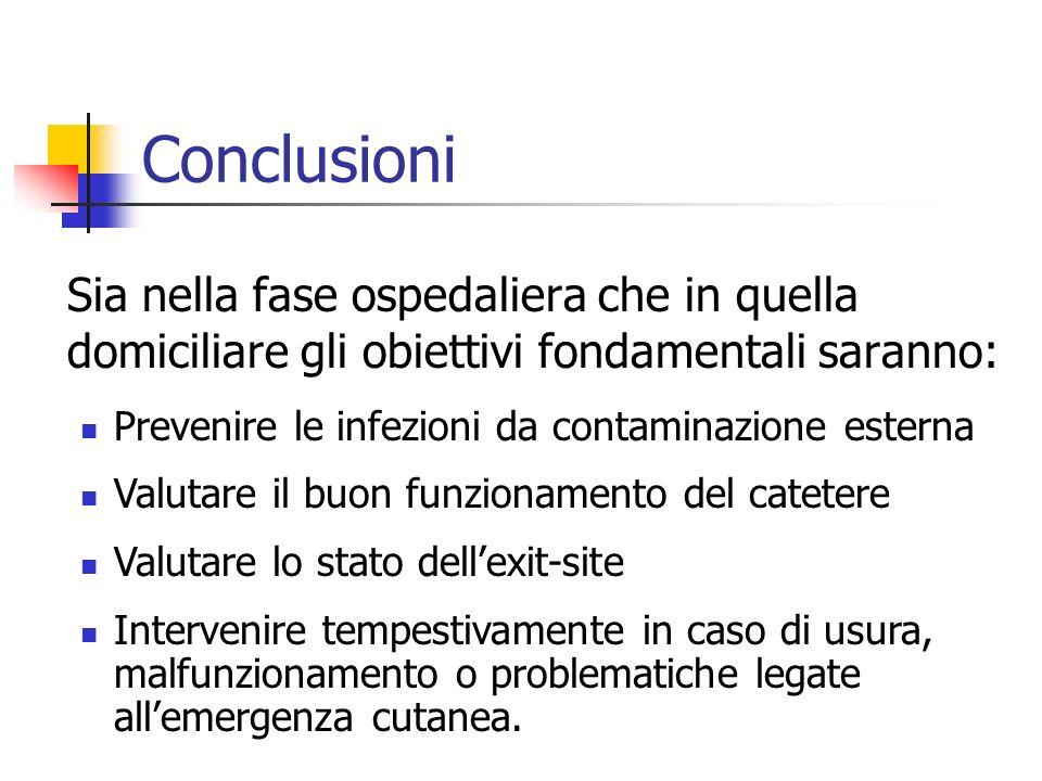 Conclusioni Sia nella fase ospedaliera che in quella domiciliare gli obiettivi fondamentali saranno: Prevenire le infezioni da contaminazione esterna
