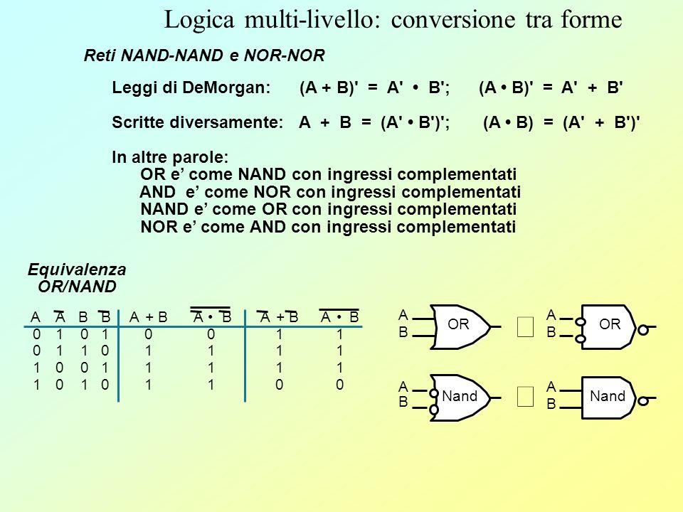 Funzioni logiche: realizzazione con porte NAND, NOR Le porte NAND, NOR sono molto piu numerose delle AND, OR nei progetti normali in quanto sono piu facili da costruire usando dei transistor Qualsiasi espressione logica puo essere realizzata con porte NAND, NOR, NOT In realta, NOT e inutile (NOT = NAND o NOR con gli ingressi collegati insieme) X01X01 Y01Y01 X NOR Y 1 0 X01X01 Y01Y01 X NAND Y 1 0