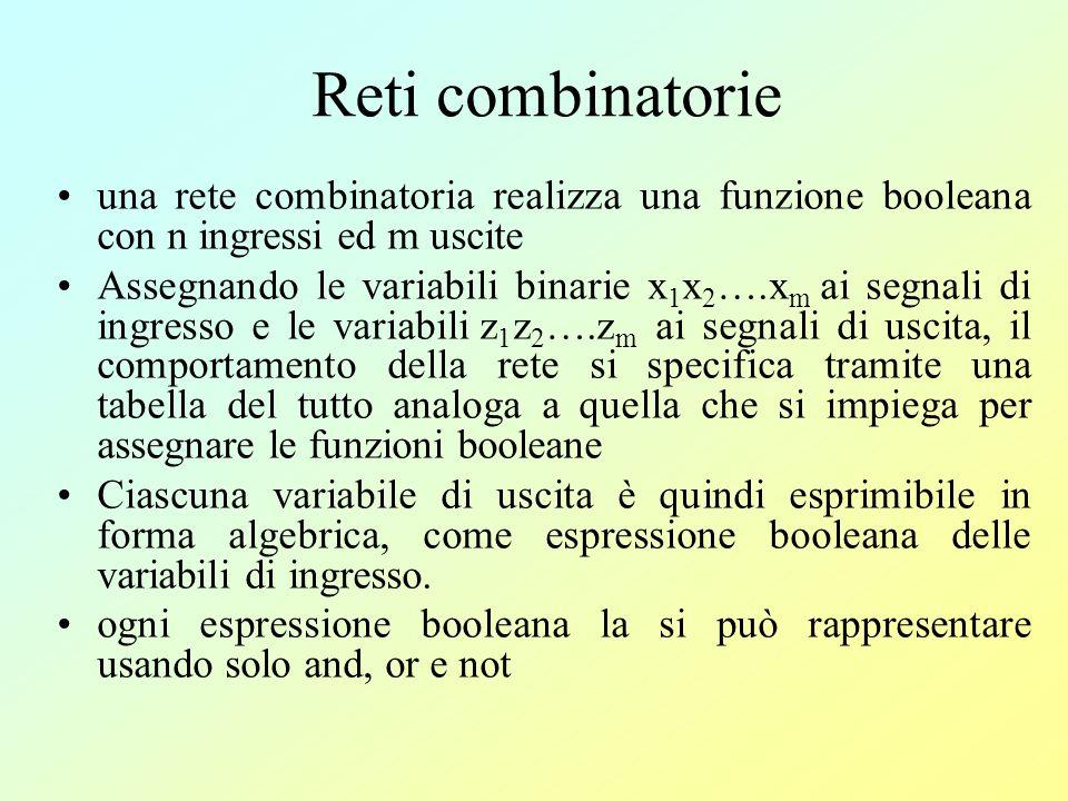 reti combinatorie: i segnali di uscita dipendono unicamente dai segnali di ingresso applicati alla rete allistante considerato.