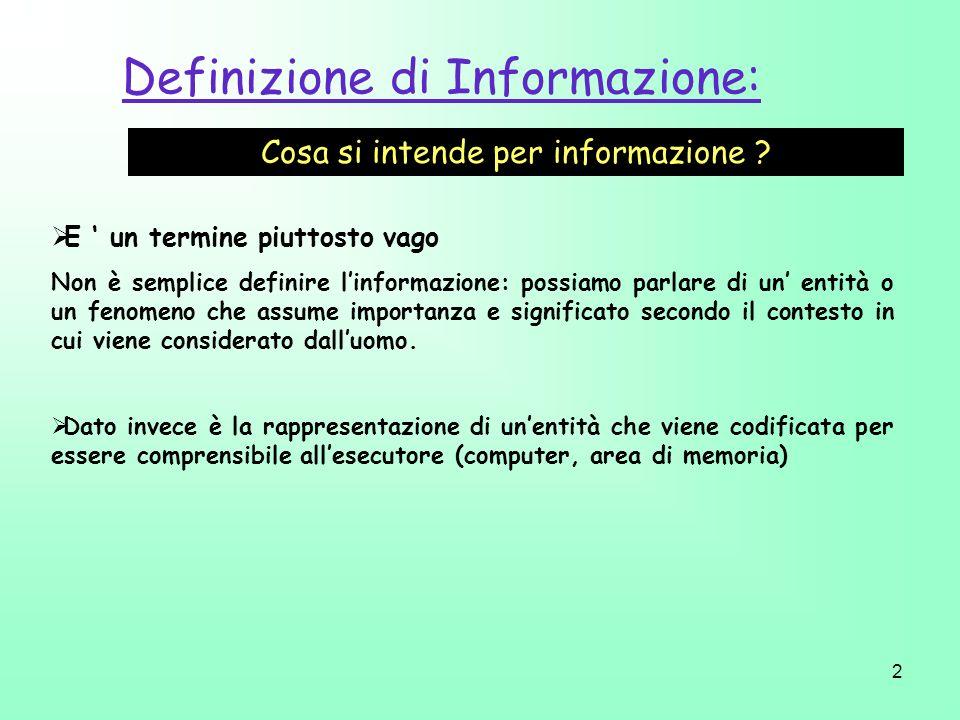 2 Definizione di Informazione: Cosa si intende per informazione ? E un termine piuttosto vago Non è semplice definire linformazione: possiamo parlare
