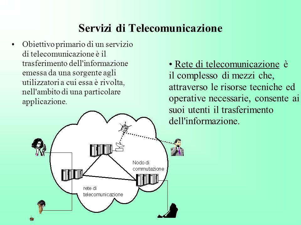 Servizi di Telecomunicazione Obiettivo primario di un servizio di telecomunicazione è il trasferimento dell'informazione emessa da una sorgente agli u