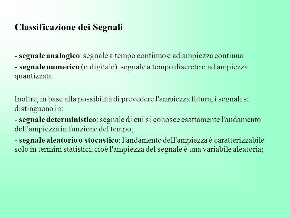 Classificazione dei Segnali - segnale analogico: segnale a tempo continuo e ad ampiezza continua - segnale numerico (o digitale): segnale a tempo disc