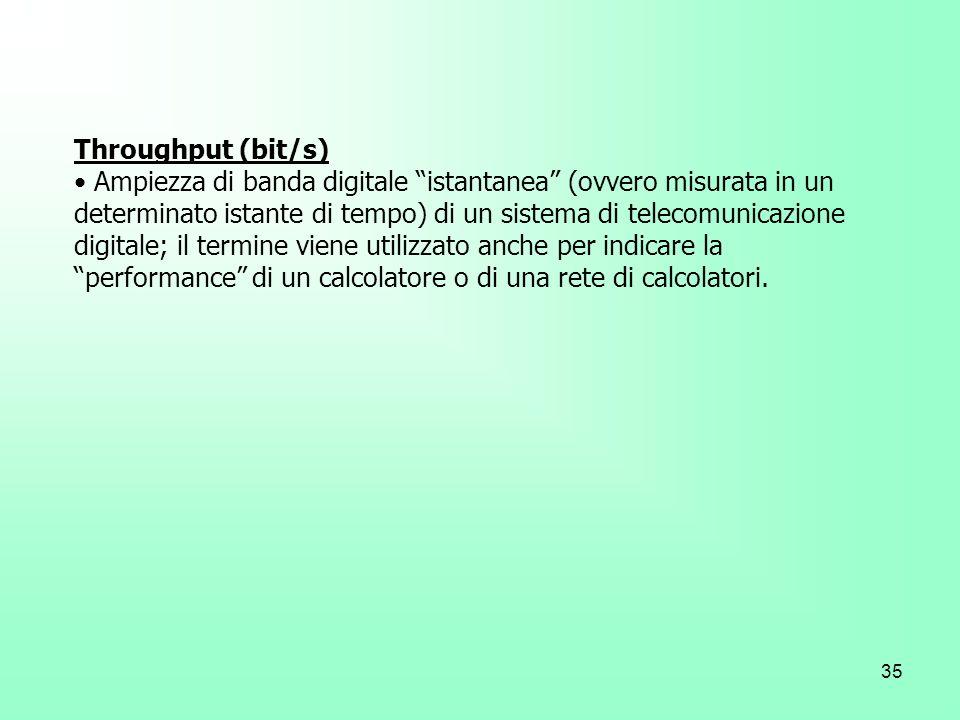 35 Throughput (bit/s) Ampiezza di banda digitale istantanea (ovvero misurata in un determinato istante di tempo) di un sistema di telecomunicazione di