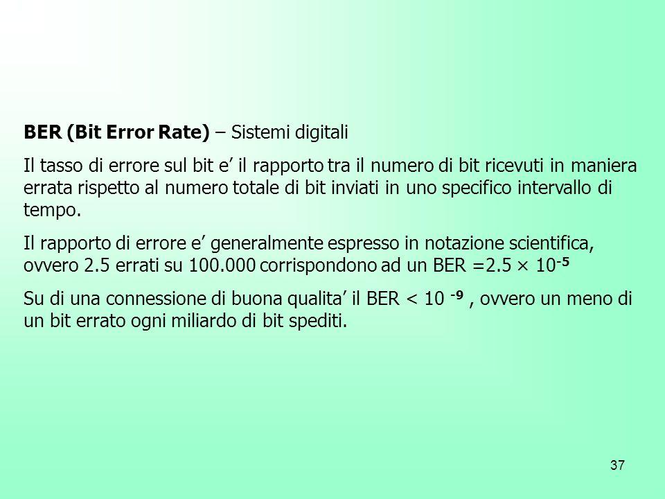 37 BER (Bit Error Rate) – Sistemi digitali Il tasso di errore sul bit e il rapporto tra il numero di bit ricevuti in maniera errata rispetto al numero