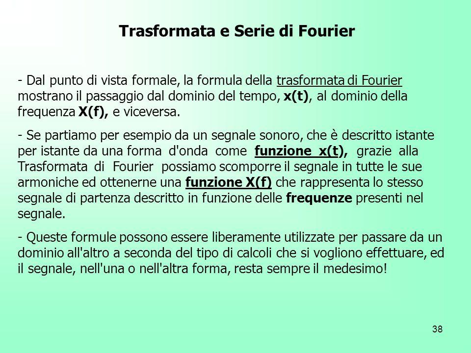 38 Trasformata e Serie di Fourier - Dal punto di vista formale, la formula della trasformata di Fourier mostrano il passaggio dal dominio del tempo, x