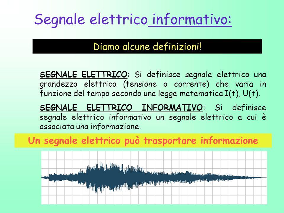 7 Segnale elettrico informativo: Diamo alcune definizioni! SEGNALE ELETTRICO: Si definisce segnale elettrico una grandezza elettrica (tensione o corre